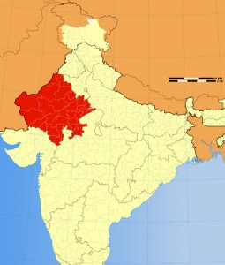 Location of Rajasthan on Indian map