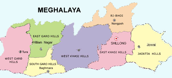 Meghalaya Map - Districts and Cities