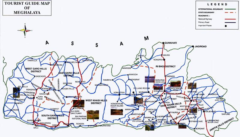 Meghalaya Tourist Map