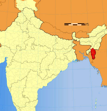 Location of Mizoram on Indian Map