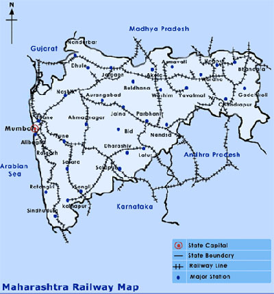 Maharashtra Indian Rail and Train Network Map