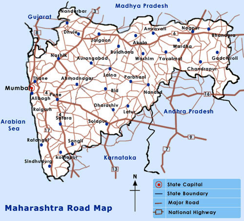 Maharashtra Road Map Maharashtra Tourist Maps Maharashtra Travel Maps Maharashtra  Maharashtra Road Map