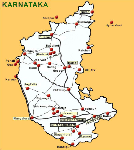 Road Network Map of Karnataka