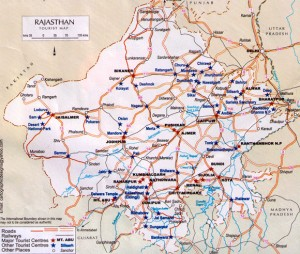 Road and Rail Network Map of Rajasthan
