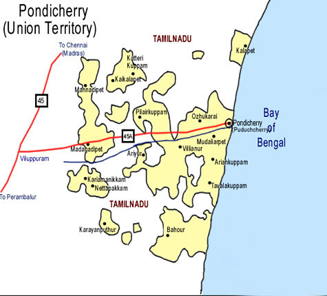 Pondicherry Route map