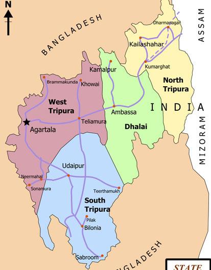 Tripura State District Map