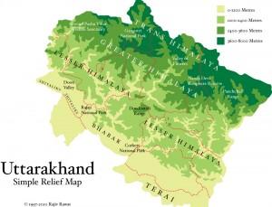Terrain Map of Uttarakhand