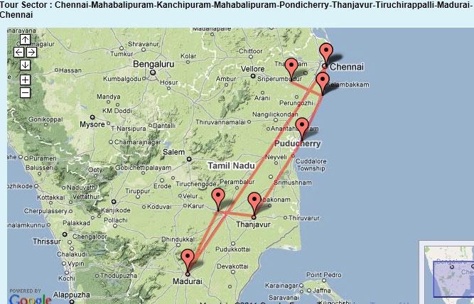 Tamil Nadu Tour Sector - Chennai, Mahabalipuram, Kanchipuram, Pondicherry, Tanjavur, Tiruchirappalli, Madurai