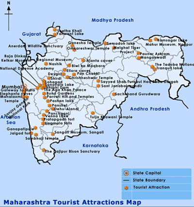 Travel Destinations And Tourist Attractions Map of Maharashtra