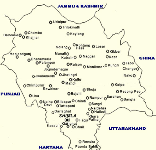 Tourist Map of Himachal