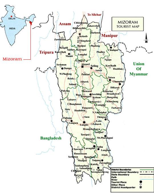Transport in Mizoram Map Northeastern India States