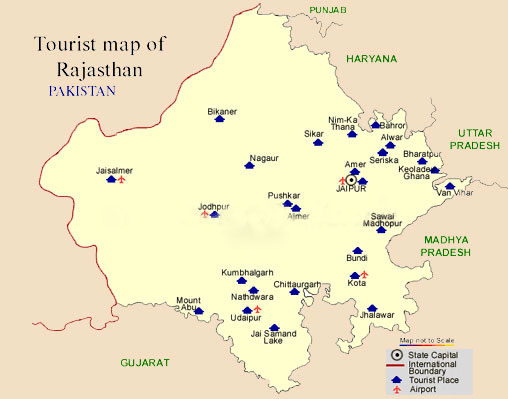 Tourist Map of Rajasthan