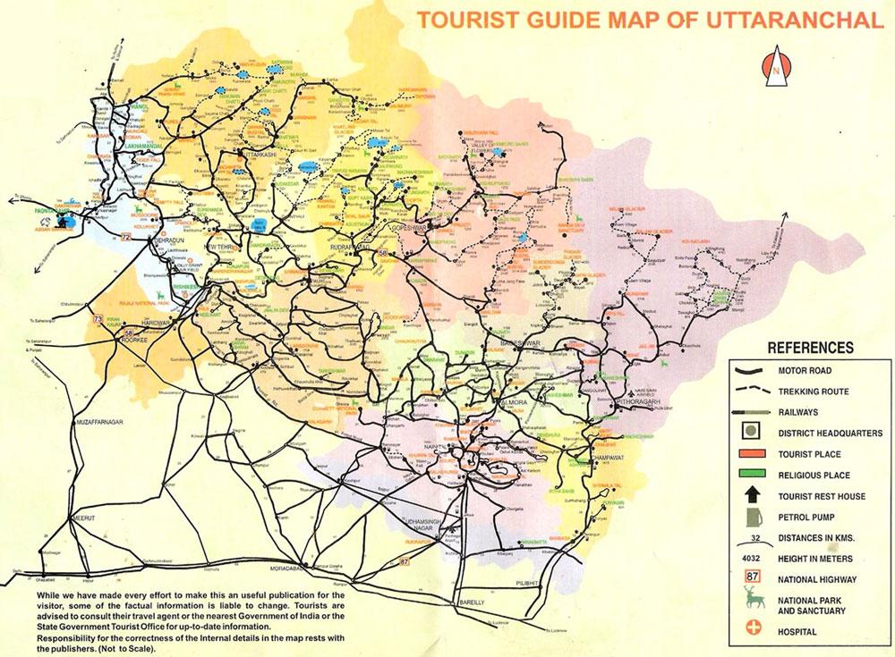 Uttarakahnd Tourist Travel Map