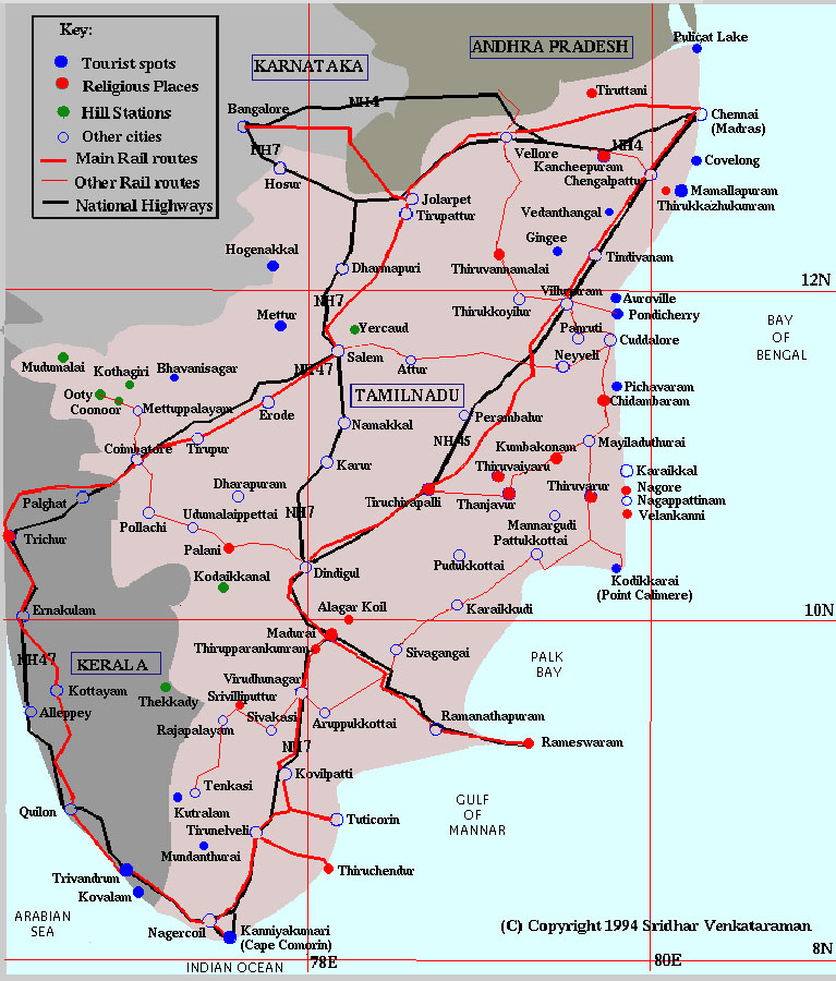 Tourist Travel Map of Tamilnadu