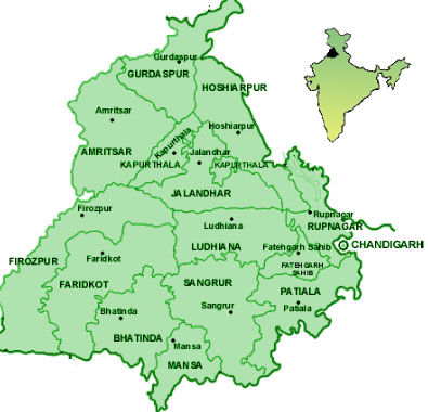 Tourist Travel Map of Punjab