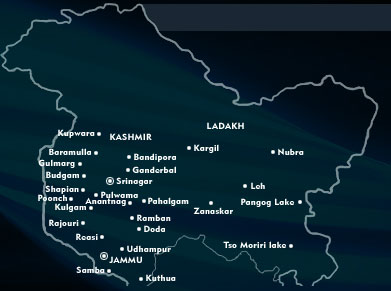 Location Map of Tourist Places in Jammu and Kashmir