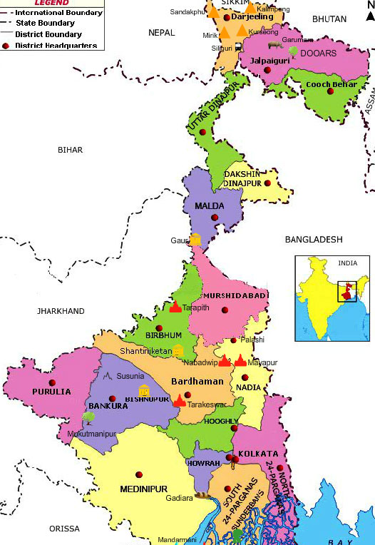 West Bengal Tourist Travel Map