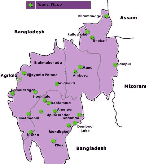 Tripura Tourist Travel Map