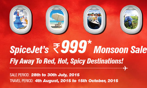 Spicejet Monsoon Sale at Rs 999