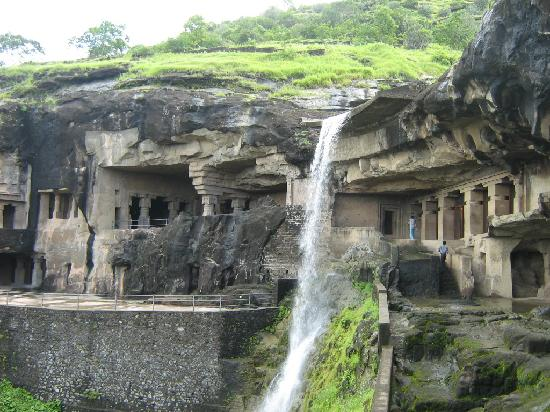 Ellora Cave with Water Falls
