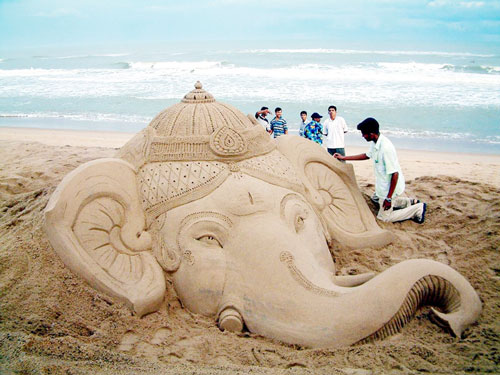 Ganapati at Puri Beach