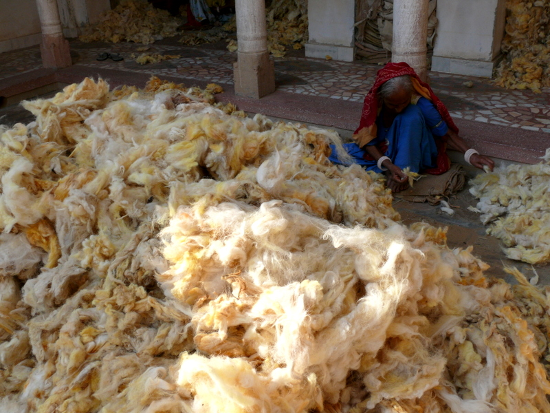 Shekhawati Sorting Wool a Woman