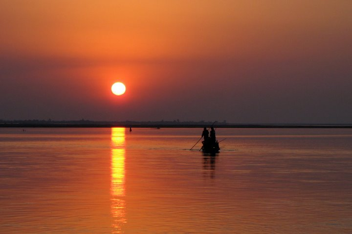 Sunset on the banks of river Brahmaputra in Majuli