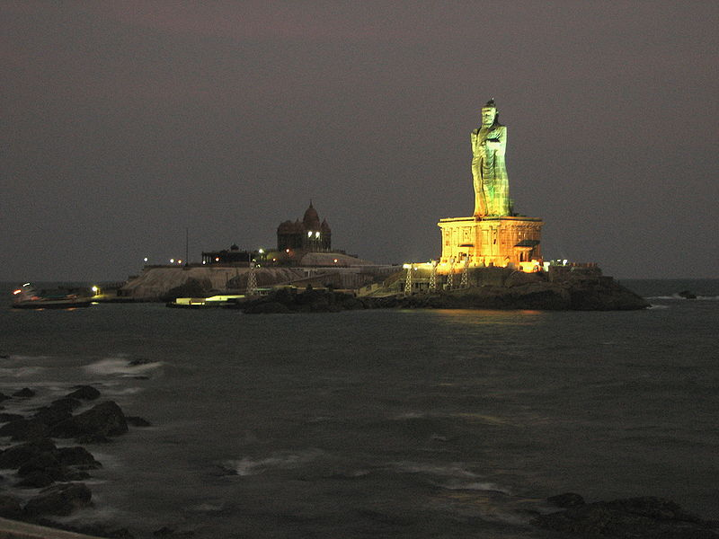 Thiruvalluvar Statue at Night