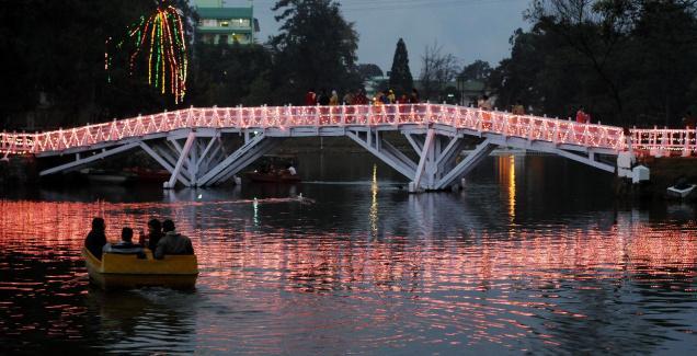 Tourists enjoying an evening at the Ward's Lake in Shillong