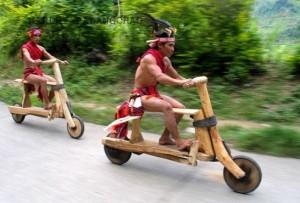 Wooden biker acing in nagalmp
