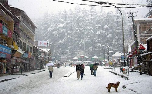 manali snow falling