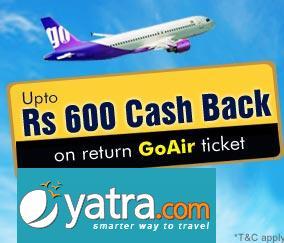 GoAir Cashback Offer with Yatra